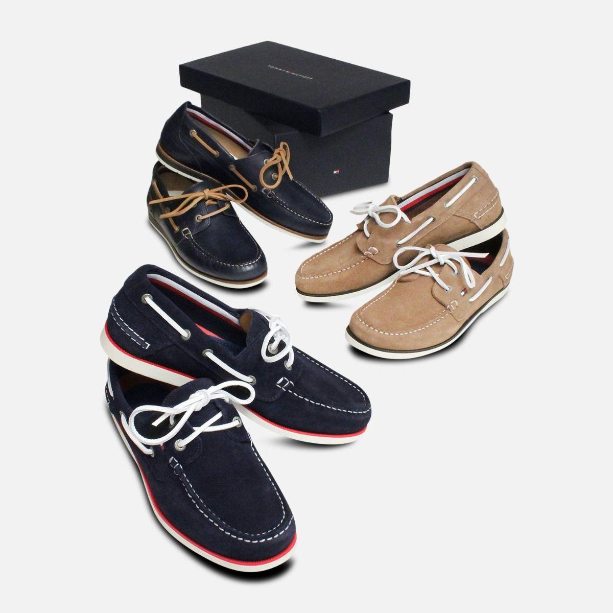Tommy Hilfiger Navy Blue Suede Mens Boat Shoes