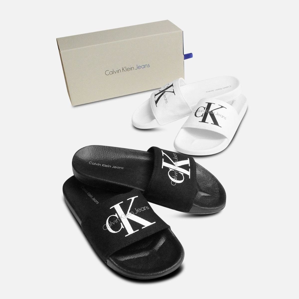 Calvin Klein Viggo Slides in Black Canvas Sandals