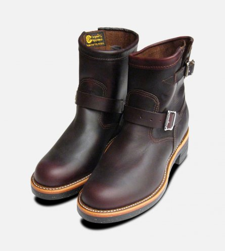 Chippewa Cordovan Oxblood Mens Logger Boots with Vibram Sole
