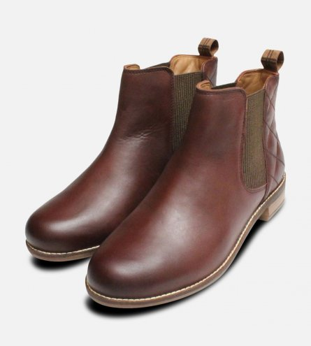 Barbour Abigail Chelsea Boots in Wine Quilted Leather
