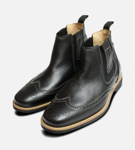 Black Brogue Chelsea Boots by Anatomic & Co Shoes