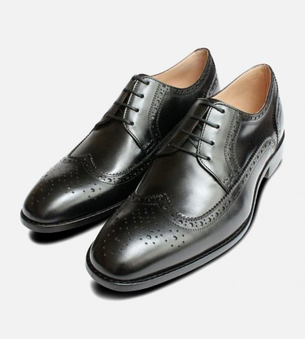 Black Kidskin Mens Wingcap Brogues by Anatomic Shoes