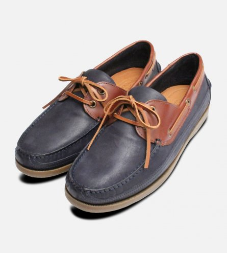 Luxury Anatomic Boat Shoes in Waxy Navy & Brown