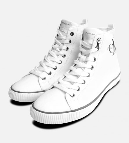 White Canvas Arthur Hi Tops by Calvin Klein Sneakers