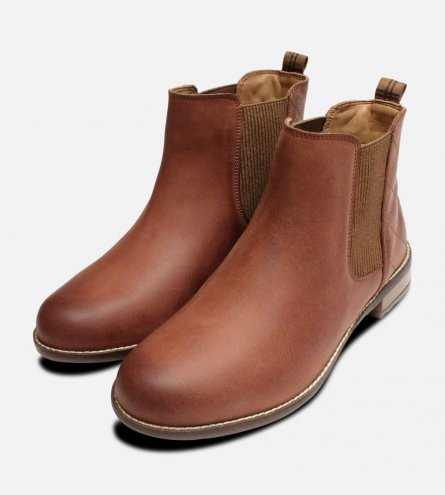 Mid Brown Barbour Abigail Slip On Ladies Chelsea Boots