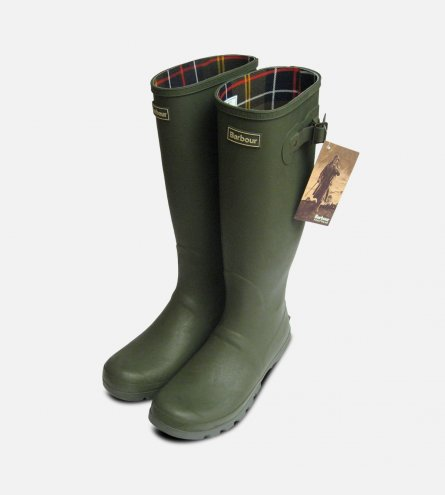 Barbour Mens Olive Green Waterproof Rubber Wellington Boots