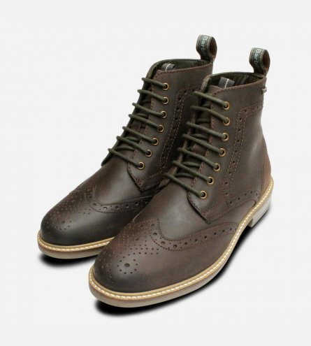 Country Brogues in Choco Brown by Barbour Belsay