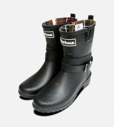 Barbour Biker Buckle Wellington Boots in Black