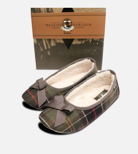 Classic Tartan Barbour Ladies Fleece Lined Slippers
