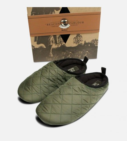 Barbour Guthrie Slippers in Quilted Olive Green