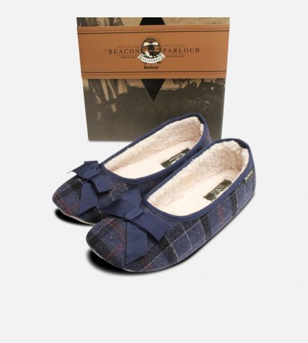 Navy Tartan Barbour Ladies Fleece Lined Slippers
