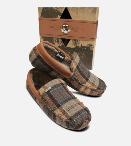 Barbour Thinsulate Warm Tartan Mens Slippers in Camel