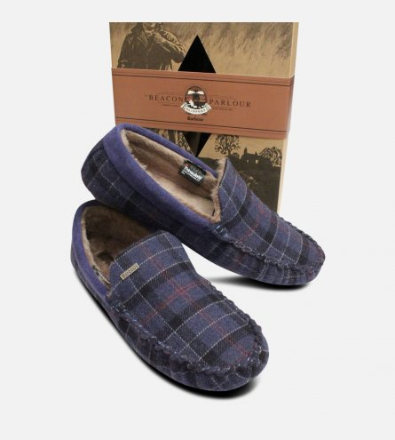 Navy Blue Tartan Barbour Monty Thinsulate Slippers