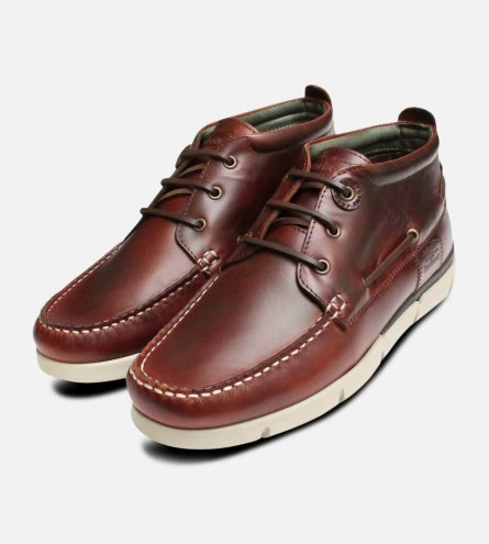 Luxury Barbour Mens Boat Shoes in Waxy Brown Leather