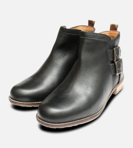 Barbour Sarah Boots in Black Leather with Twin Buckle Strap