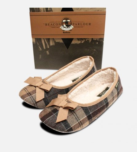 Camel Tartan Barbour Womens Fleece Lined Slippers