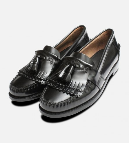Ladies Black Double Fringe Tassel Elspeth Loafers