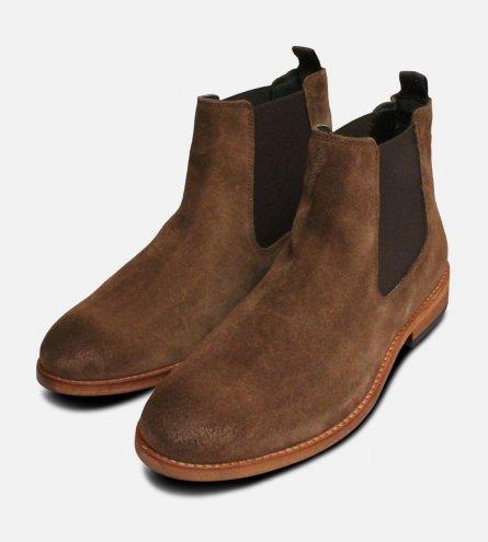 Barbour Tobacco Suede Bedlington Chelsea Boots