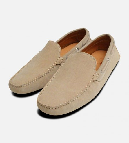 Beige Suede Italian Driving Shoes by Arthur Knight