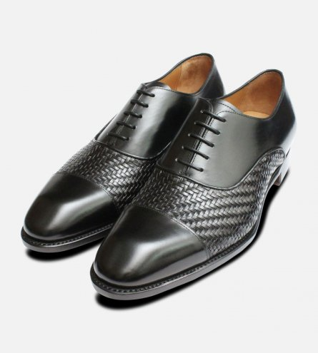 Black Weave Oxfords by Carlos Santos Shoes