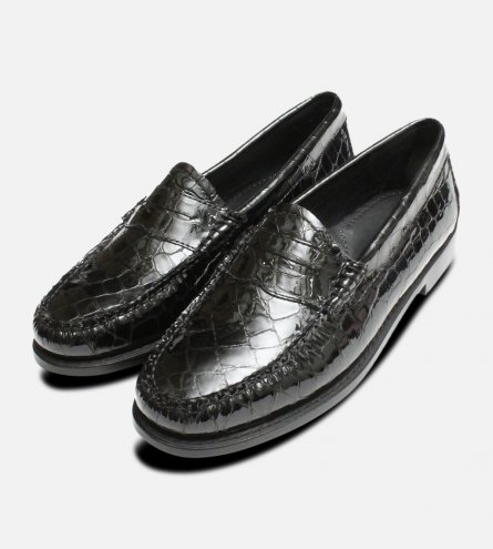 Black Patent Crocodile Printed Ladies Bass Loafers