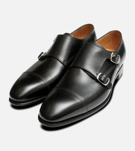 Carlos Santos Double Buckle Monk Strap Black Shoes