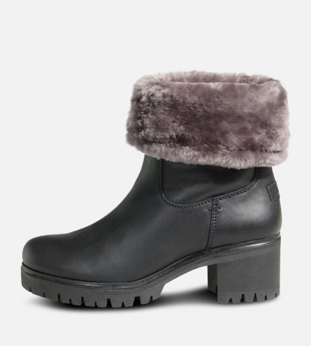 Ladies Panama Jack Black Fur Piola Boots