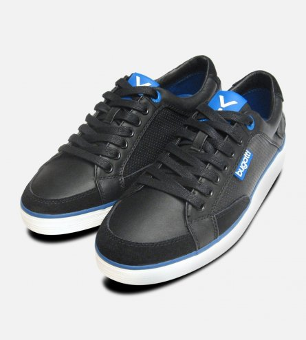 Black & Navy Blue Leather Mens Designer Trainers by Bugatti Sneakers