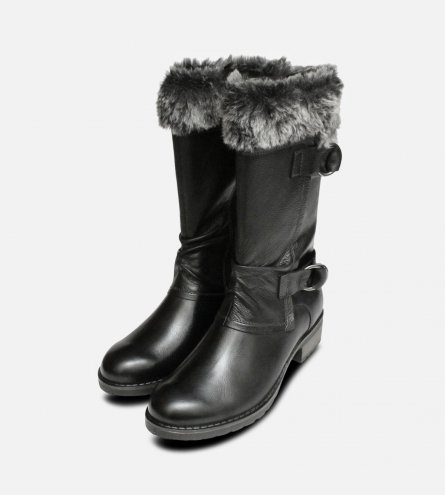 Black Ladies Side Zip Tamaris Boots with Fur Top