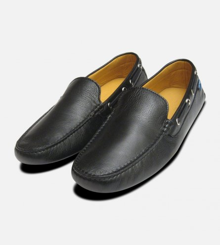 Black Calf Leather Italian Driving Shoes for Men by Arthur Knight