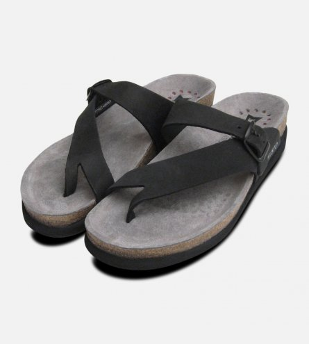 Helen Toe Post Black Ladies Mephisto Sandals