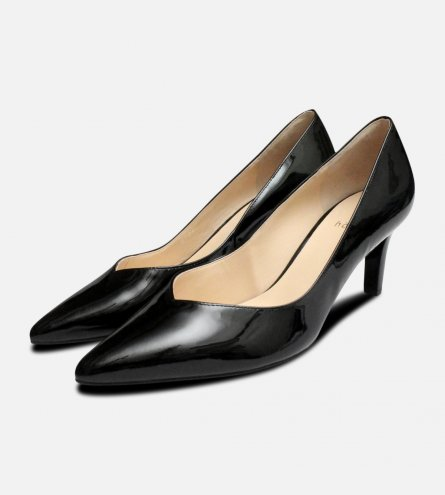 Hogl Black Patent Pointed Toe Medium Heel Shoes