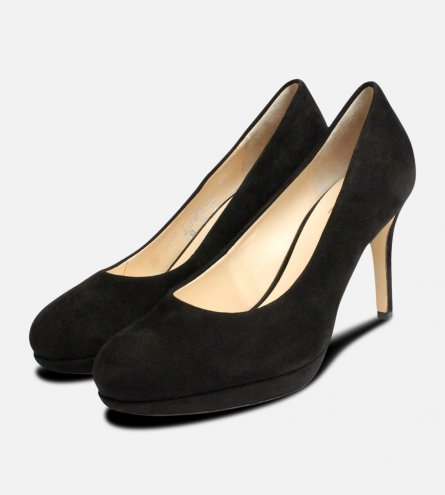Black Suede Leather Hogl Womens High Heel Shoes