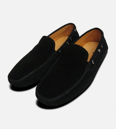 Mens Black Suede Italian Driving Shoe Moccasins
