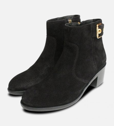 Black Suede Tommy Hilfiger Gold Buckle Parson Boots