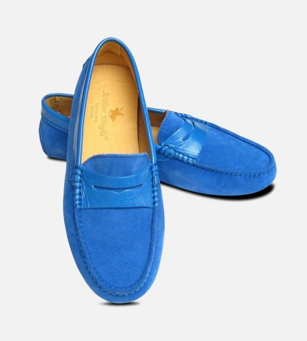 Blue Suede Ladies Italian Driving Shoe Moccasins
