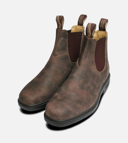 Square Toe Rustic Brown Mens Blundstone Boots