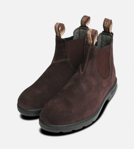 Blundstone 1458 Dark Brown Suede Chelsea Boots