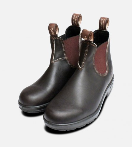 Mens Round Toe Stout Brown Blundstone 500 Boots