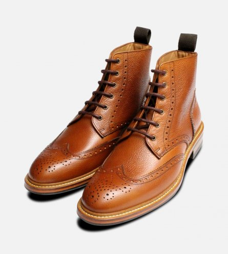 John White Country Brogue Boots in Tan Grain