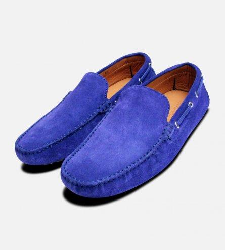 Deep Azzuro Suede Italian Driving Shoe Moccasin