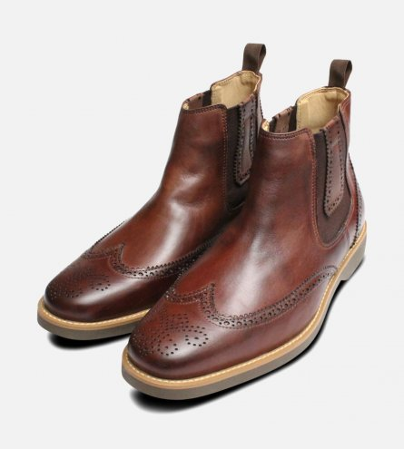Antiqued Wingcap Brogue Chelsea Boot Anatomic & Co