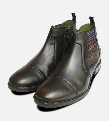 Dark Brown Mens Zip Boots by Bugatti Designer Shoes