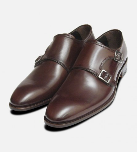Burnished Brown Plain Double Buckle Designer John White Shoes