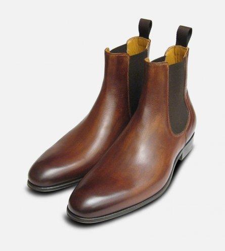 Antique Tan Brown Mens Chelsea Boots