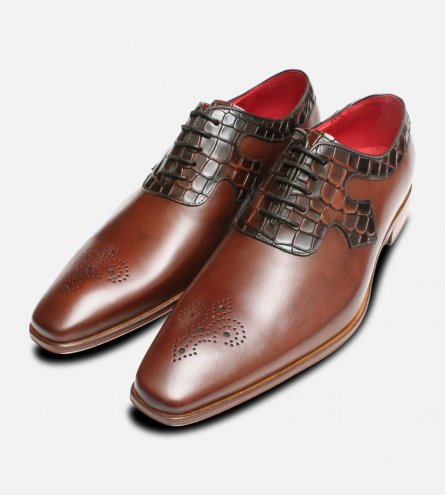 Brown Oxford Jeffery West Crocodile Brogue Shoes