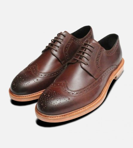 Dark Brown Wingtip Brogues by John White Shoes