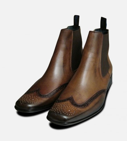 Exceed Brown Mens Chelsea Boots UK