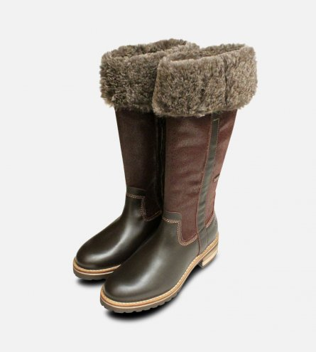 Warm Fur Lined Tamaris Long Boots in Brown Duo Tex