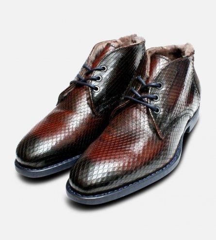 Fur Lined Italian Chukka Boots Brown Printed Snakeskin